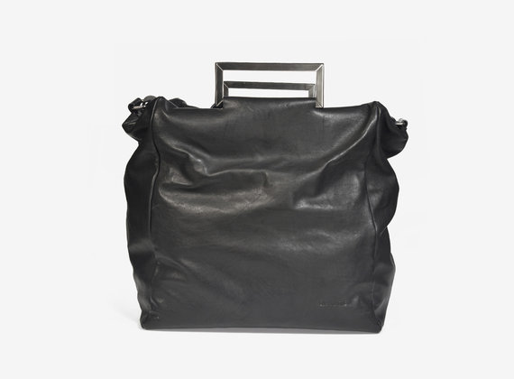 Leather handbag with steel handles