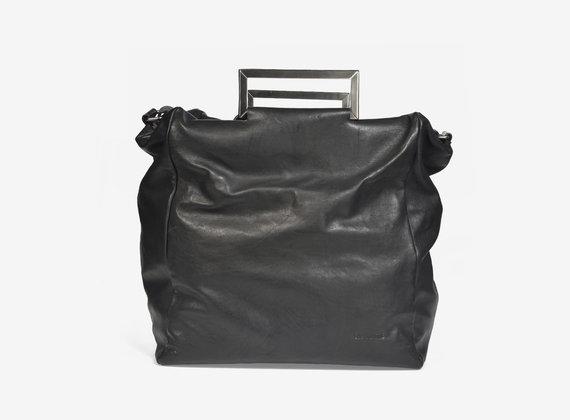 Leather handbag with steel handles