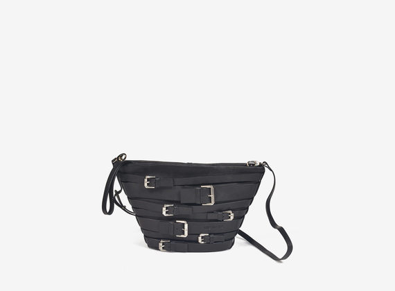 Multi-buckle leather bucket bag