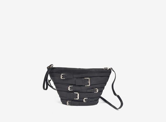 Multi-buckle leather bucket bag