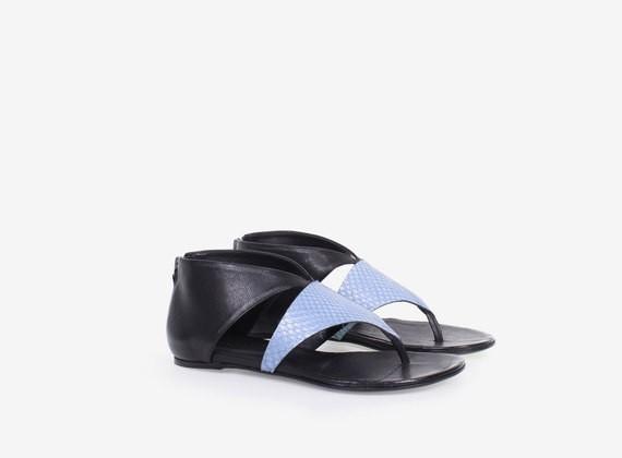 Sandalo in cuoio e pitone