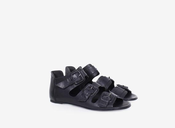 Sandalo multi fibbia in pelle e cuoio