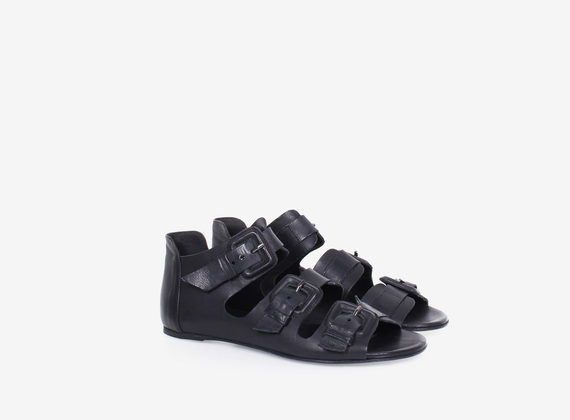 Multi-buckle leather sandal