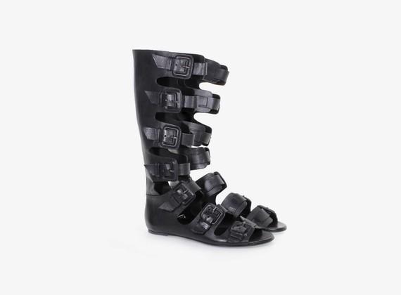 Sandale/botte ouverte multi-boucles - NOIR