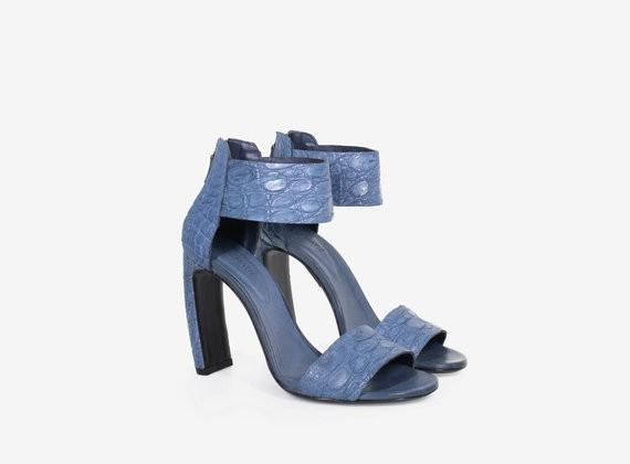 Sandalen aus echtem Krokodilleder in matter Optik mit Reißverschluss innen