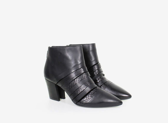 Open ankle boot with python leather straps