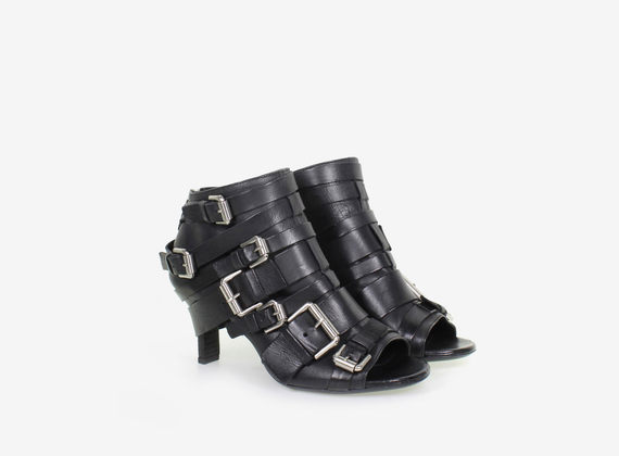 Multi-buckle open toe ankle boot