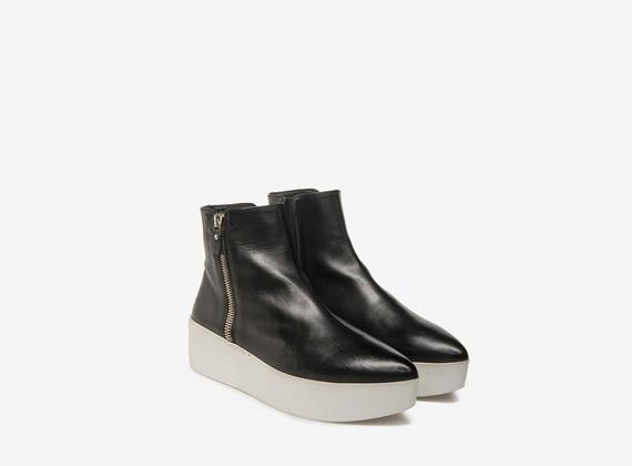 White and black zip flatforms