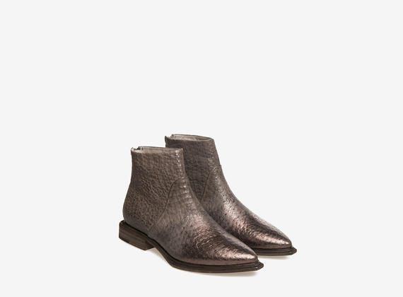 Metal coated ankle boots