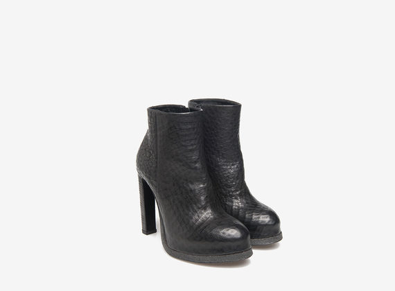 Black mini platform ankle boots