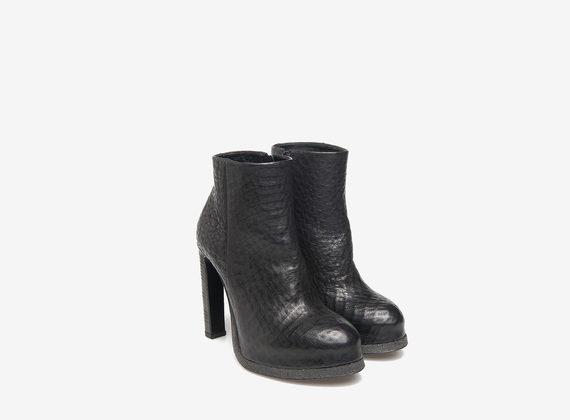 Black mini platform ankle boots