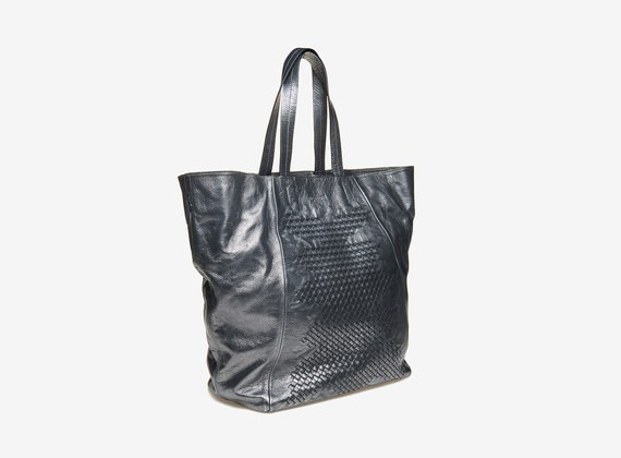 Sac de shopping tressé - Noir / Lamine'