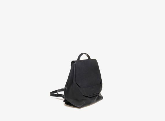 Mini rucksack with geometric flap