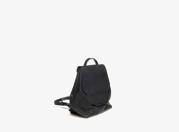 Mini rucksack with geometric flap