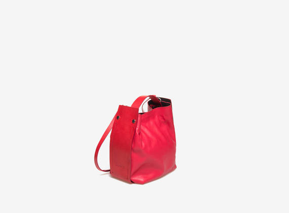 Red mini strap satchel