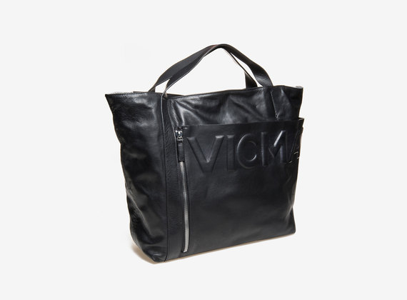 Shopping bag con tascone e logo