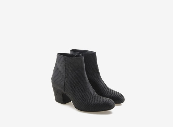 ankle boot and upper in engraved leather