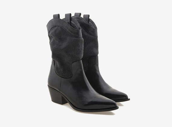 Mesh effect leather Texan boot