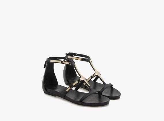 Sandal with metallic appliques - Black