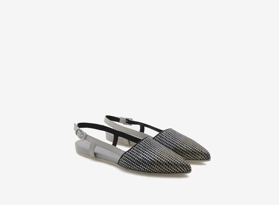Chanel shoe with laminated weave