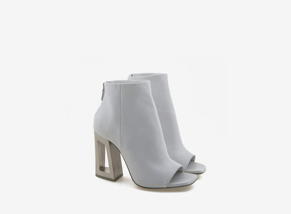 Steel effect white peeptoe ankle boot