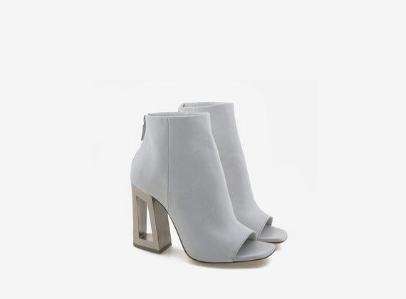 Steel effect white peeptoe ankle boot