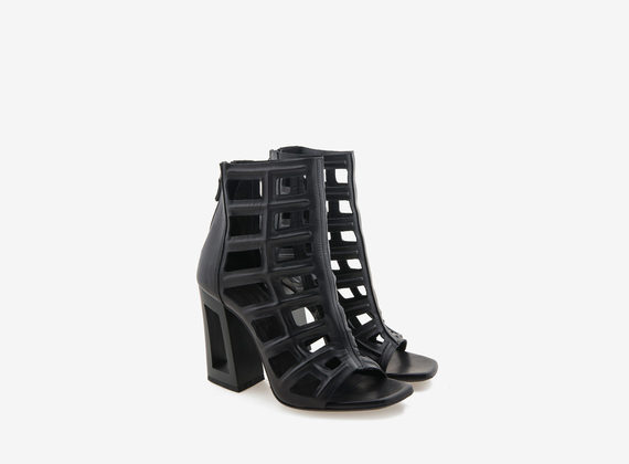 3D laser-treated leather peeptoe ankle boot with perforated heel