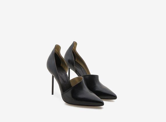 Chaussures à bout ouvert asymétrique avec talon aiguille - Noir / Or