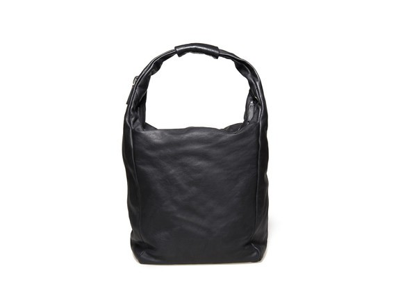 Soft black bag with a double zip closure