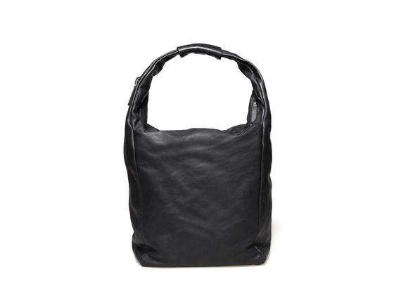 Sacca morbida nera con zip
