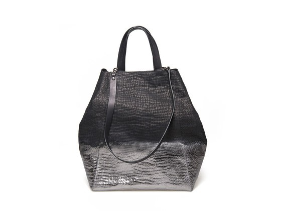 Shopping bag con spalmatura metallica