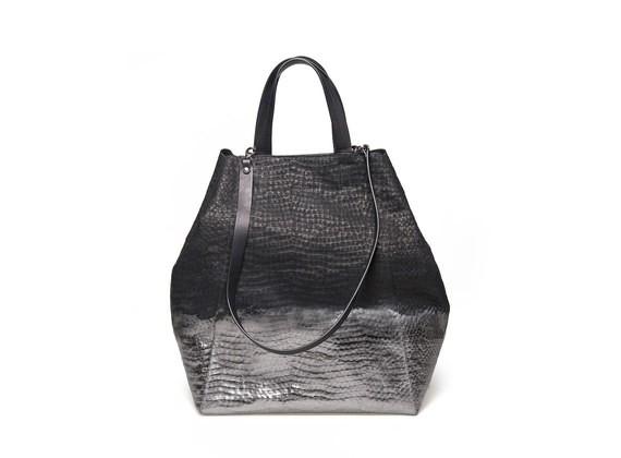 Shopper-Tasche mit metallfarbener Patina
