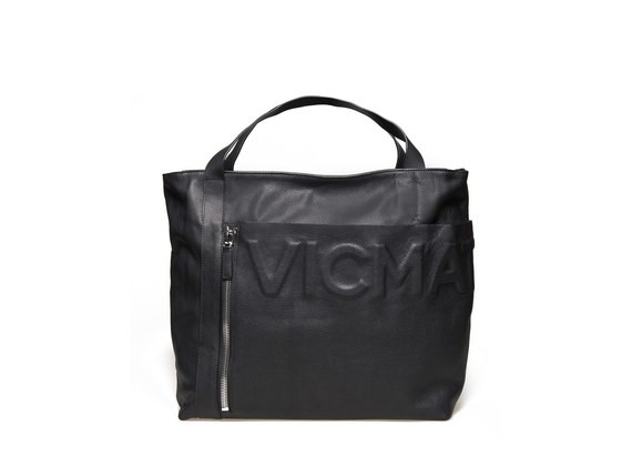 Tote Bag mit aufgesetzter Tasche und Logo - Schwarz