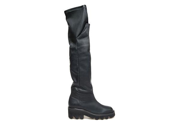 Stiefel aus dehnbarem Leder mit umklappbarem Schaft