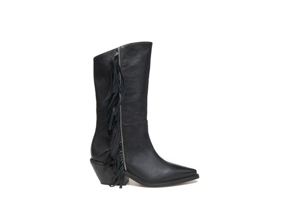 Texan boots with zip and side fringe