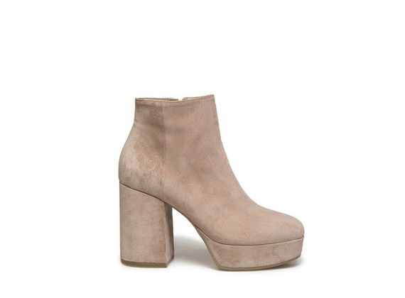Powder suede ankle boot with platform