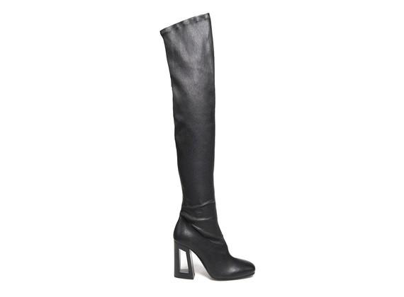 Overknee-Stretch-Stiefel mit perforiertem Absatz