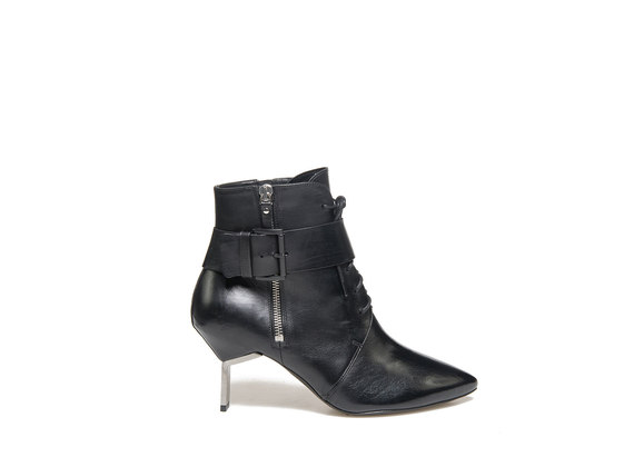 Laced ankle boots with zip, buckle and steel heel
