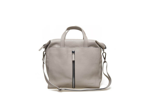 Frost-coloured tote bag with central zip