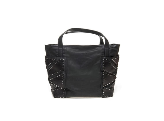 Shopping bag with studded pockets