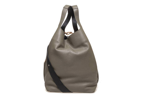 Militärgrüne Maxi-Tasche mit kontrastierendem Umhängeriemen