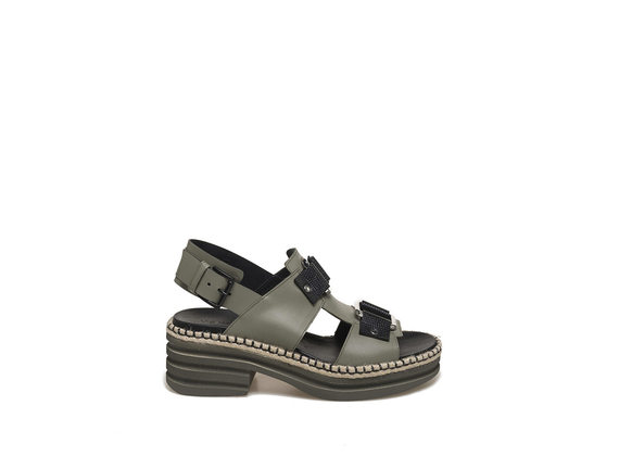 Military green-coloured sandal with rings and rubber base - Military Green