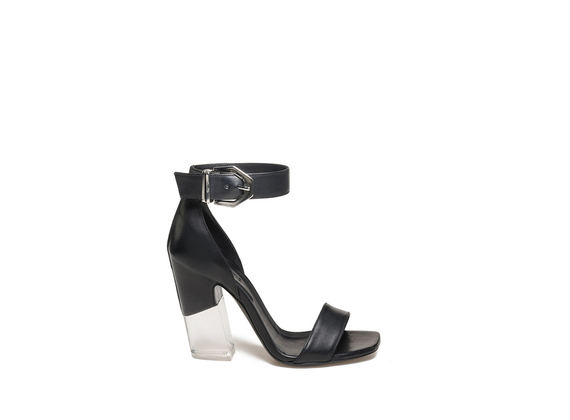 Sandal with buckle and plexi heel