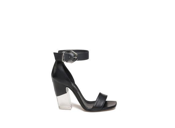 Sandalette mit Schnalle und Plexiglasabsatz - Schwarz