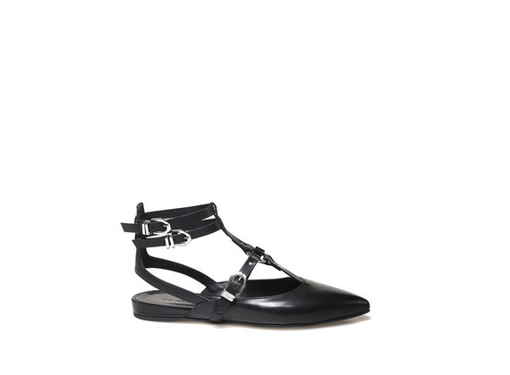 Slingback ballerina with straps