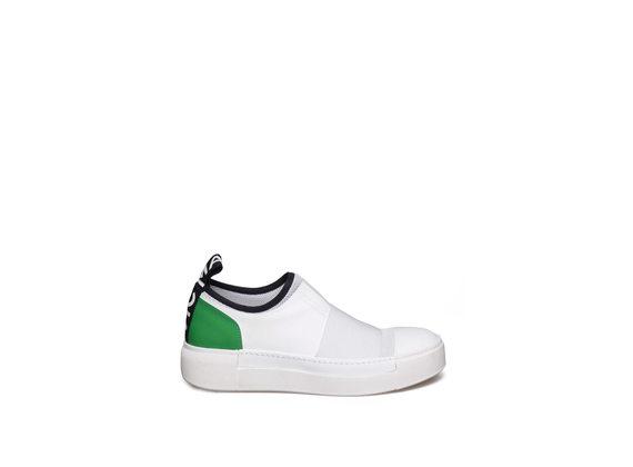 White slip-on with green heel