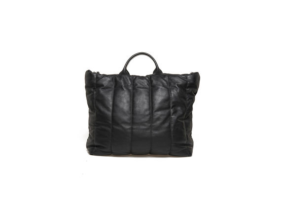 Quilted black shopping bag