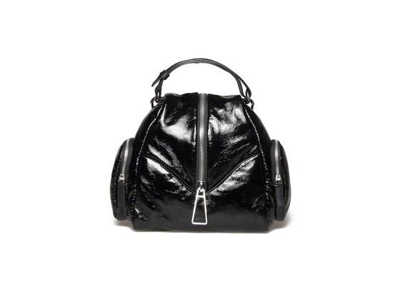 Kleiner Rucksack aus schwarzem Glanzleder