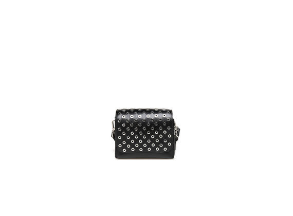 Mini black briefcase with eyelets