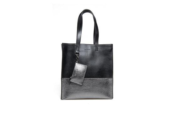 Two-tone metallic gun-metal shopping bag